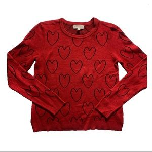 Philosophy Sweaters - NWOT Red Black Hearts Intarsia Sweater Philosophy